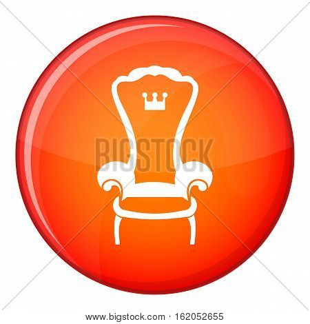 King throne chair icon in red circle isolated on white background vector illustration