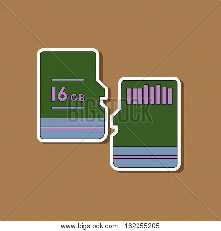 paper sticker on stylish background of micro SD