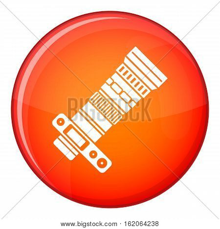 Dslr camera with zoom lens icon in red circle isolated on white background vector illustration