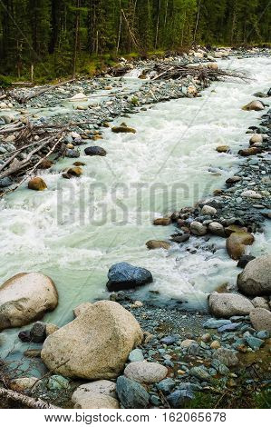 Akkem river flowing from glacier and Beluha range. White color from the content of talc