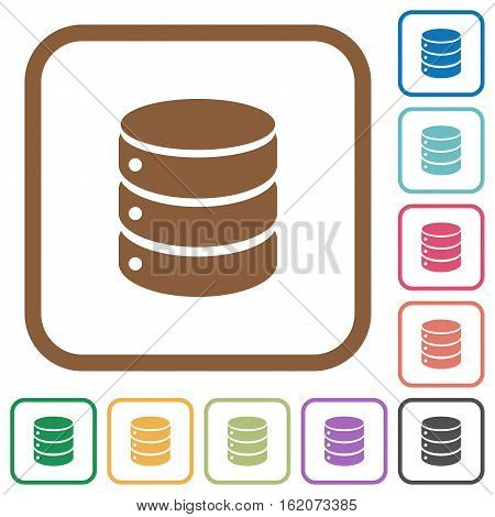 Database simple icons in color rounded square frames on white background