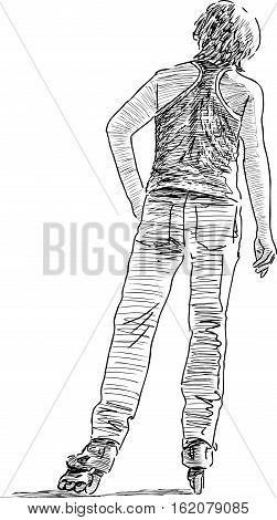Vector drawing of an young man on the roller skates.