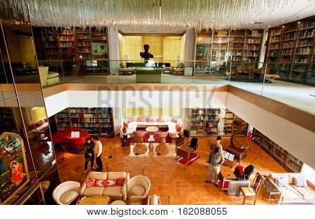 TEHRAN, IRAN - October 24, 2014: Vintage furniture and book shelfs in the library of Iran former Queen in Niavaran Palace on October 24, 2014. Residence of last Shah until Iranian Revolution in 1979