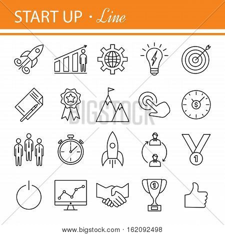 Start-up project- outline web icon set. Start up business icon set suitable for info graphics, websites and Ul.