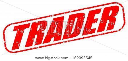 Trader on the white background, red illustration