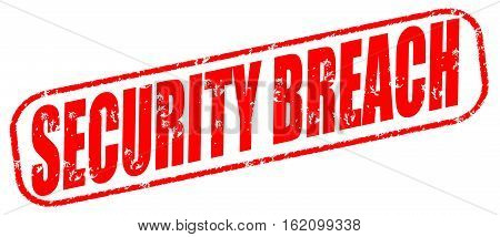 Security breach on the white background, red illustration
