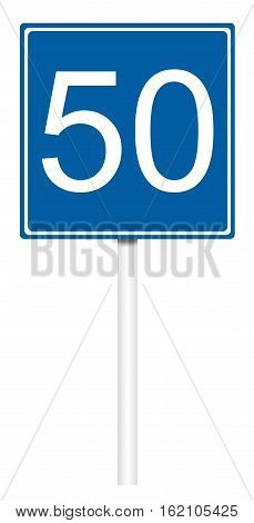 Informative sign isolated on white illustration - Recommended speed