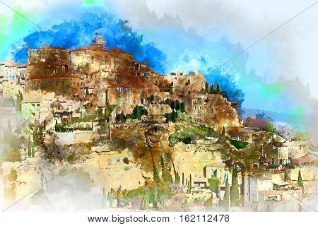 Digital watercolor painting of Gordes is a very beautiful hilltop village in France. Provence-Alpes-Cote d'Azur region
