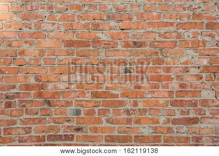 Old Brick Wall Of Red Brick, Uneven Bricks