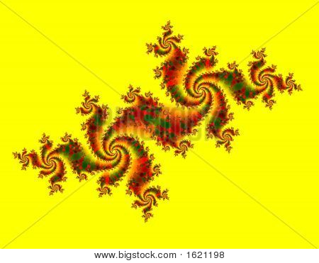 Dancing Dragons Over Bright Yellow