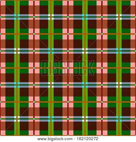 Plaid, seamless pattern, brown, green, vector.  Brown and green squares and rectangles and thin lines on a pink field. Colorful, geometric background.