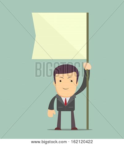 Man holding flag. You can place the colors of your own flag or put your logo, text or symbol in the blank space.