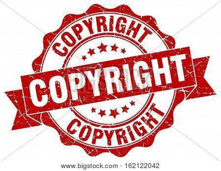 copyright. stamp. sign. seal. round. retro. ribbon