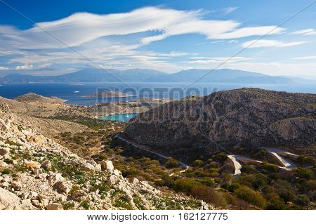 Rhodes island as seen from the hills of Halki island in Dodecanese archipelago, Greece.