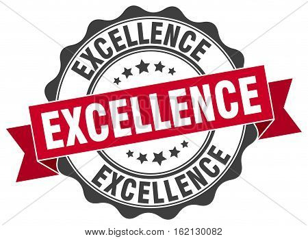 excellence. stamp. sign. seal. round. retro. ribbon