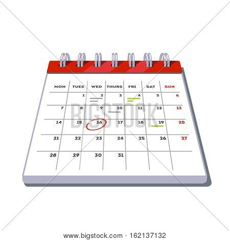 Month lined big calendar template icon with planned work and appointments marks. Flat style vector illustration isolated on white background.