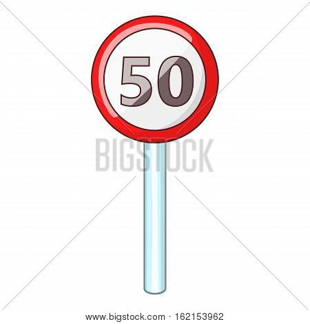 Speed limit fifty road sign icon. Cartoon illustration of speed limit fifty vector icon for web