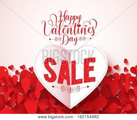 Happy valentines day typography with sale text vector design in folded red heart shape paper cut and hearts background. Vector illustration.