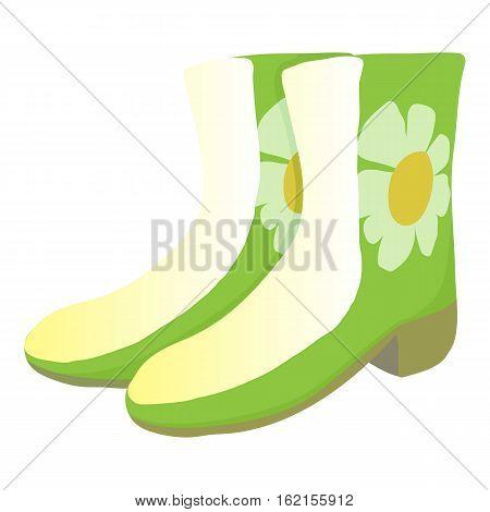 Green rubber boots icon. Cartoon illustration of green rubber boots vector icon for web design