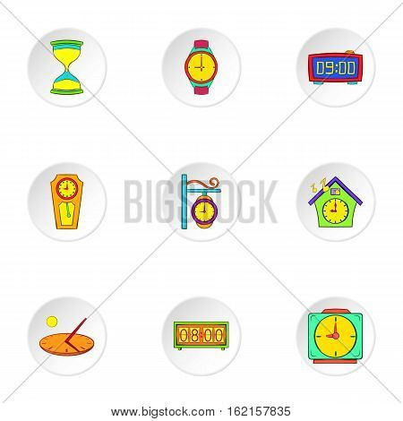 Clock icons set. Cartoon illustration of 9 clock vector icons for web