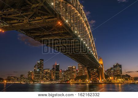 Sydney Harbour at night viewed from Milsons Point in North Sydney Australia. DEC 19,2016 Sydney Harbour is a beautiful meandering waterway, famous around the world.