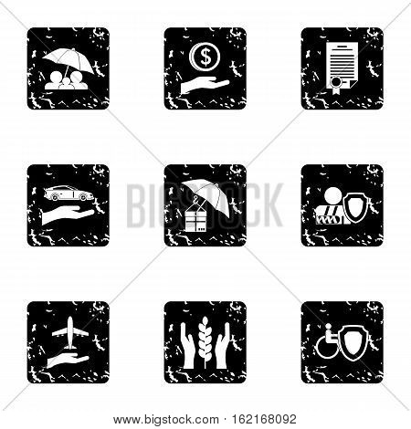 Confidence icons set. Grunge illustration of 9 confidence vector icons for web