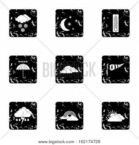 Weather outside icons set. Grunge illustration of 9 weather outside vector icons for web