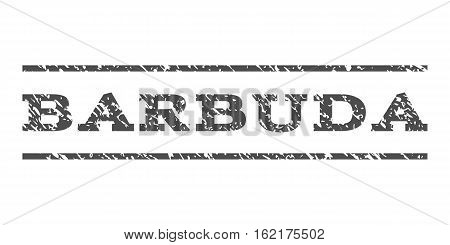 Barbuda watermark stamp. Text caption between horizontal parallel lines with grunge design style. Rubber seal stamp with unclean texture. Vector gray color ink imprint on a white background.