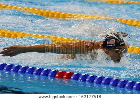 RIO DE JANEIRO, BRAZIL - AUGUST 8, 2016: Olympic champion Michael Phelps of United States competes at the Men's 200m butterfly at Rio 2016 Olympic Games at the Olympic Aquatics Stadium