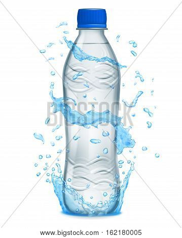 Water Splashes In Light Blue Colors Around A Plastic Bottle