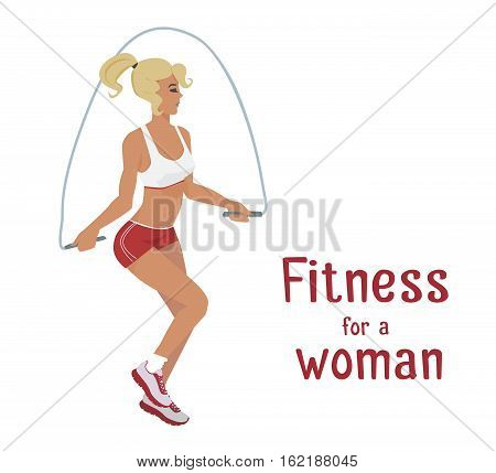 Vector girl in red makes skipping rope exercises . Flat cartoon style Woman does sports workout, cardio training . Fitness active lifestyle illustration Print banner poster advertisement design element