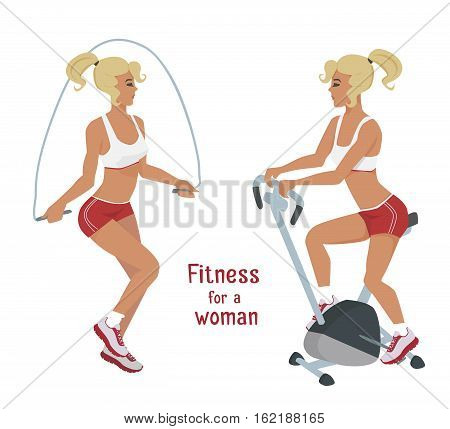 Vector girl in red makes skipping rope and bike exercises . Flat cartoon style Woman does sports workout, cardio training active lifestyle illustration Print banner poster advertisement design element