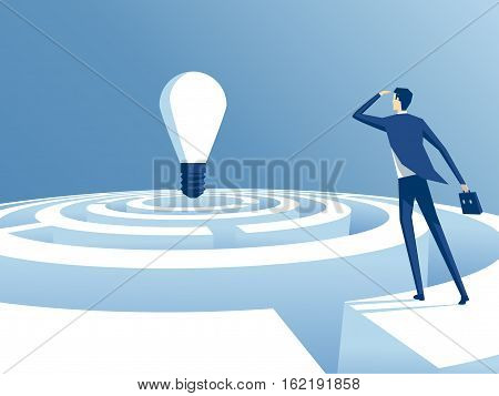 businessman looking for how to go through maze and get to the ideas. the employee thinks how to pass the labyrinth and get to the bulb. business concept the path to the idea