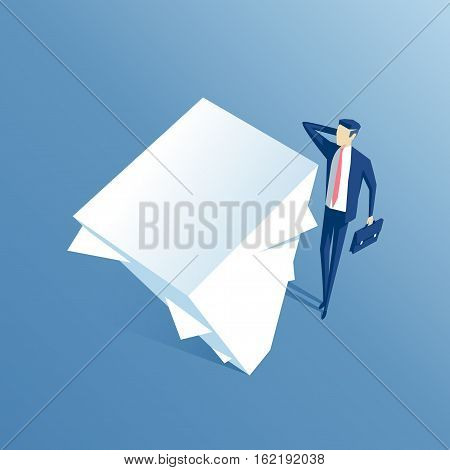 surprised businessman looking at large stack of papers a confused employee looking up at that big stack of documents business concept workload and paperwork