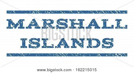 Marshall Islands watermark stamp. Text tag between horizontal parallel lines with grunge design style. Rubber seal stamp with dirty texture. Vector cobalt color ink imprint on a white background.