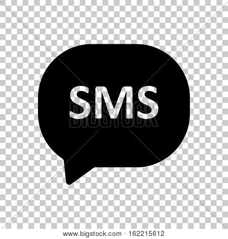 Sms Icon. Black Icon On Transparent Background.