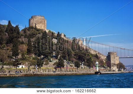 ISTANBUL - APRIL 16 2015: Rumelihisari also known as Rumelian Castle and Roumeli Hissar Castle is a fortress located in Istanbul Turkey on a hill at the European side of the Bosphorus