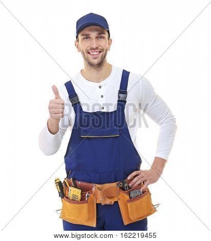 Plumber with tool belt isolated on white