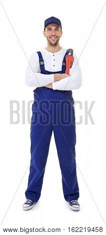 Plumber with crossed hands holding screw-wrench isolated on white