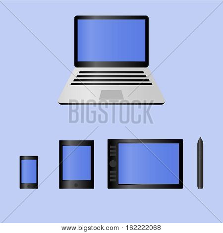 Realistic mobile computer devices laptop, tablet, graphic pen tablet, smartphone - each device individually grouped EPS10 vector illustration