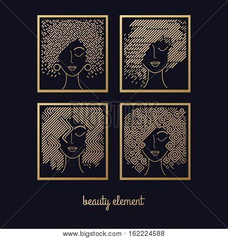 Female hairstyles. Set of girls faces gold foil printing on black background. Vector illustration for design packing shampoo hair cosmetics hairdressing signage flyers advertising.