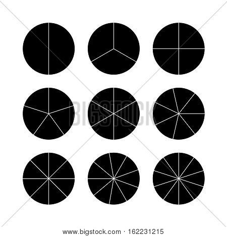 Circle segments set. Various number of sectors divide the circle on equal parts. From 2 to 10. Black flat fill.