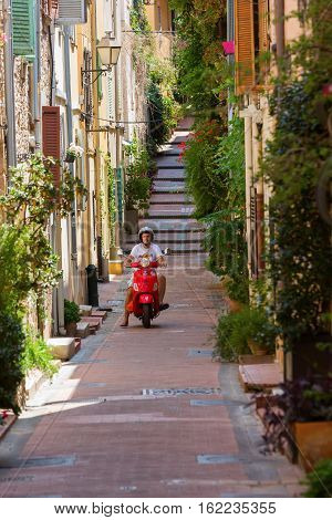 Picturesque Alley In The Old Town Of Antibes, France