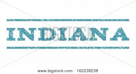 Indiana watermark stamp. Text caption between horizontal parallel lines with grunge design style. Rubber seal stamp with dirty texture. Vector cyan color ink imprint on a white background.