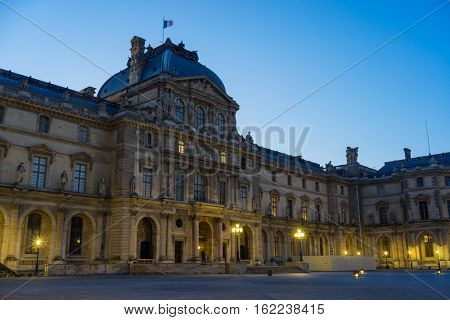 PARIS, FRANCE - APRIL 24, 2015: View of the building of Louvre Museum. Louvre Museum is one of the largest and most visited museums worldwide.