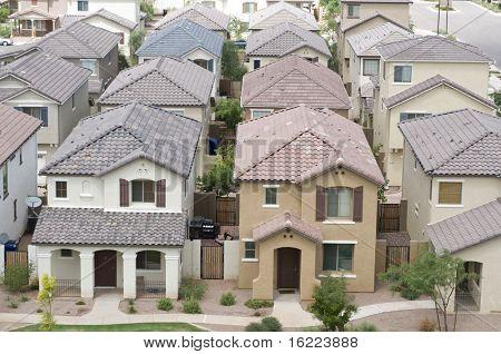 Vista aérea da área residencial na Comunidade casa de subúrbio típico