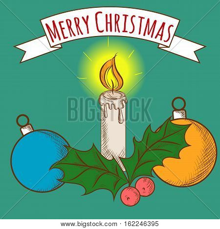 Merry Christmas Candle with Balls and European Holly, Ilex Aquifolium, Colorful, Hand Drawn