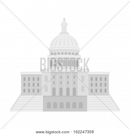 United States Capitol icon in monochrome style isolated on white background. USA country symbol vector illustration.