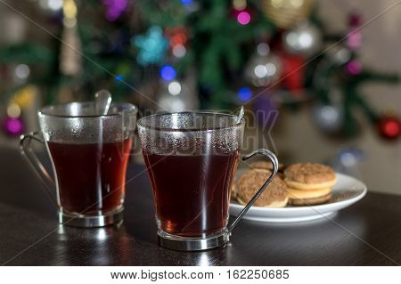 Christmas tea and home made cookies on the table