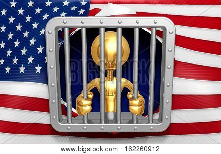 Law Legal Concept With The Original 3D Character Illustration Prisoner In A Cell
